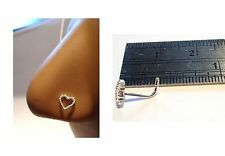 Sterling Silver Nose Stud Pin Ring L Shape Post Beaded Heart 20 gauge 20g