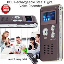 8GB Digital Dictaphone Recorder Sound Voice Recorder Rechargeable MP3 Player UK