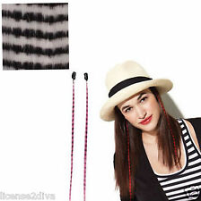"CLIP IN FAUX FEATHERS! WHITE/BLACK TIGER! 16"" INCLUDES 2 PIECES! BY: HAIRUWEAR!"