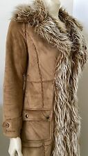 WET SEAL SIZE M FAUX Suede Faux Fur Lined/TRIMMED LONG  Jacket Coat STUNNING!