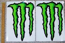 "2 LARGE 14""X10"" MONSTER CLAW LOGO STICKERS~NEW~GREEN & BLACK~CLEAR BACKGROUND"