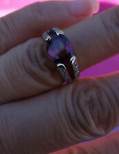 Pink Tourmaline Diamond pave solitaire with accent ring engagement or right hand