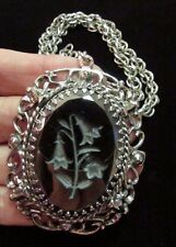 Signed WHITING & DAVIS Vintage Necklace Pendant Hematite Carved Cameo Flower