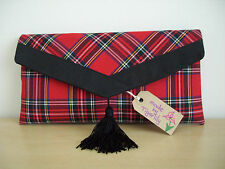 BURNS NIGHT RED ROYAL STUART TARTAN   clutch bag, suede trim with tassel.