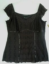 Venezia Brown Lace KNit Empire Waist Women's Top 18 20   Bust 46""