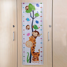 PVC Wall Decal Stickers Kids Giraffe Animals Tree Height Chart Measure Home HOT