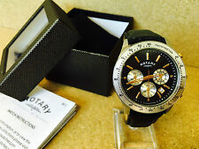 17 ROTARY MENS SILVER & GOLD CHRONOGRAPH WATCH BLACK LEATHER STRAP GS03906/04