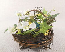 Footed Twig Wooden Bird Nest w/ Feathered Bird & Flowers Table Decoration