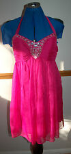 NEW SZ 8 Cerise Pink large Silver sequin ruched bodice Cute Mini Flare Dress