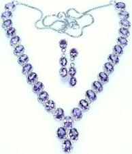 Sterling Silver Necklace Earrings SET Amethyst Genuine Gemstones 925 Jewellery
