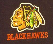 VINTAGE XL BLACK  CHICAGO BLACKHAWKS STITCHED LOGO TEE SHIRT