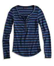 Lucky Brand - XL - NWT -Tonal Blue Striped Cotton Henley Shirt Thermal Knit Top