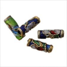50x 110764 Colorful Flower Tube Enamel Cloisonne Beads Fit Jewelry Making