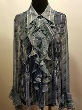 CAbi Blue Periwinkle Black White Plaid Poly Ruffled Sheer Bell Sleeve Blouse M
