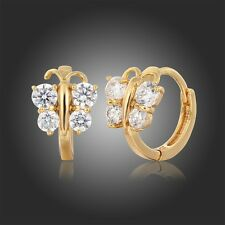 18K Yellow Gold GF Butterfly Cluster CZ Huggie Hoop Earrings Kids Girl Jewellery