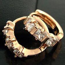 FS553 GENUINE 18K ROSE G/F GOLD SOLID DIAMOND SIMULATED HUGGIE HOOP EARRINGS