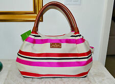 NWT $328 KATE SPADE Oak Island Stripe Stevie Tote Multi Color Handbag Pink
