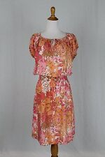 Talbots Coral Floral Silk Below the Knee Puff Sleeve Smocked Peasant Dress M