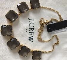 NWT J. Crew Authentic Classic Black Crystal Cube  Necklace with Bag