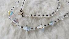 "Vintage Aurora Borealis Bicone Faceted Crystal Graduated Bead 18"" Necklace"
