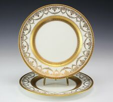 2pc Ovington Brothers Coalport Gold Gilt and encrusted Dinner Plates
