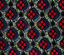 African Fabric 1/2 Yard Cotton BLUE FUSCHIA Olive GREEN Abstract Leaves BTHY