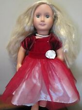 "Our Generation Doll Blonde Hair Green Eyes 18"" Fancy Red & White Dress"
