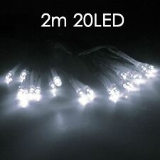 White 20 LED BATTERY  MICRO SILVER WIRE STRING FAIRY PARTY XMAS WEDDING LIGHT