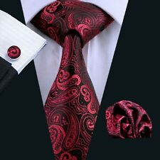 C-314 New Fashion Tie Sets Red Paisley Man's  Silk Ties Jacquard Woven Necktie