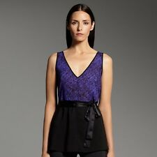 $48Narciso Rodriguez for DesigNation Basketweave Georgette Top blue/black-cobalt