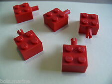 Lego 5 brique rouge a/clip 6862 6956 6949 8032 / 5 red brick modified w/pins