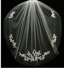 New White Ivory 1T lace crystal Fingertip Wedding Accessories veils Bridal Veil
