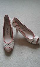 BNWOB LADIES M&S CREAM WITH RED DOT PEEP TOE SHOES SIZE 4