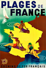 Art Ad PLAGES DE FRANCE  Travel Deco  Poster Print