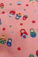 "Russian dolls craft national dress fabric cotton poplin 45"" sold by the metre"