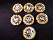 MEXICAN TALAVERA POTTERY ROUND TILES SET OF 6 WITH SUN & 1 W/ SUN & MOON 3 1/2""