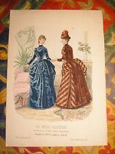 Gravure MODE couleur GRAND FORMAT La mode illustrée : femmes au salon 1886 N°3
