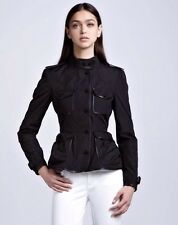 New With Tags Burberry London 'Capplestone' Leather Trimmed Peplum Jacket Size 2