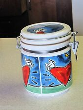 "Chaleur Wonderful World by Shindo 6 1/4"" Ceramic Canister w/ Lid Rare"
