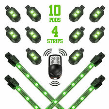 Green Wireless Control 10 Pod 4 Strip Motorcycle Underglow Neon Accent Light Kit