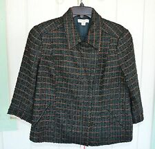 NWOT COLDWATER CREEK 14 Wool Blend Ribbon Boucle Zip Jacket Forest Green
