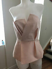 C/MEO COLLECTIVE Pastel Pink Tube Structured Peplum Top Size S Ret $150