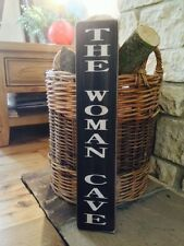 THE WOMAN CAVE SIGN DOOR SHED Kitchen Christmas GIFT Mum Vintage  Gran Wooden