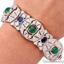 Antique Deco Diamond 27.46ct Sapphire Emerald Platinum Bracelet 58.6 Grams NR