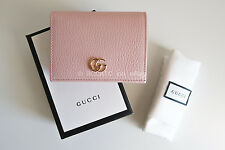 100% authentic GUCCI 'mini marmont wallet' light pink leather pebbled card purse