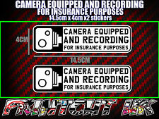 CAMERA EQUIPPED & RECORDING STICKERS X2 decal dvr car van bike truck bus B & W