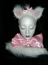 Aristocats Cat Fancy Dress - Marie Ears,Tail & Large Pink Satin Bow Faux Fur