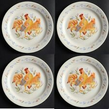 New! Set of 4 Corelle COUNTRY MORNING 8 1/2 Lunch Plate - ROOSTER (White)