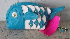 NEW WITH TAGS BETSEY JOHNSON TEAL BLUE FISH WRISTLET COSMETIC BAG