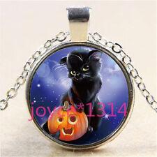 Halloween black cat Cabochon Tibetan silver Glass Chain Pendant Necklace #3047